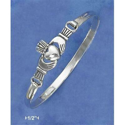 Sterling Silver Antiqued Claddagh Bangle Bracelet with Latch Hook Closure