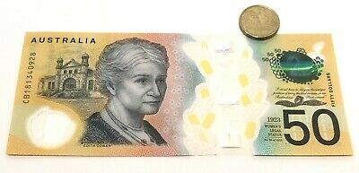 new 50 dollar bill Australia - with spelling errors NEAR MINT CONDITION