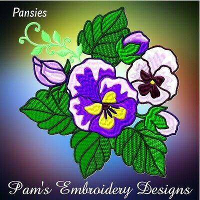 PANSIES 20 MACHINE EMBROIDERY DESIGNS CD or USB