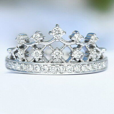 0.3Ct 100% Natural Diamond 14K White Gold Crown Exquisite Ring R880