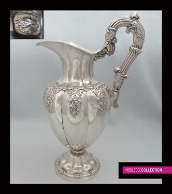 HUGE ANTIQUE 1840s FRENCH STERLING SILVER REPOUSSE WATER PITCHER EWER 13.38 in.