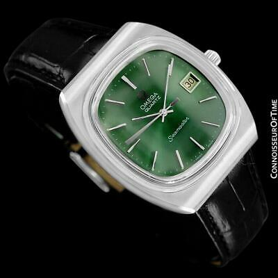 1978 OMEGA SEAMASTER Vintage Mens Quartz Date Watch with Green Dial - SS Steel