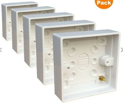 5 x 1 Gang Single Pattress Back Box 25mm White Plastic for Surface Mount Sockets