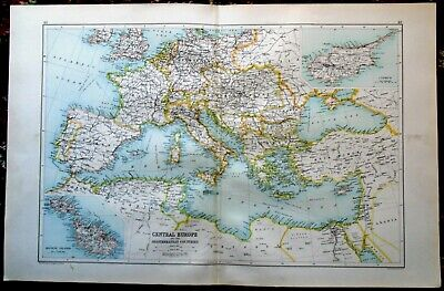 Antique MAP ~ EUROPE & MEDITERRANEAN ~ Bartholomew c1892 Edinburgh Geographical