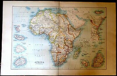 Antique MAP ~ AFRICA AFRICAN ~ Bartholomew c1892