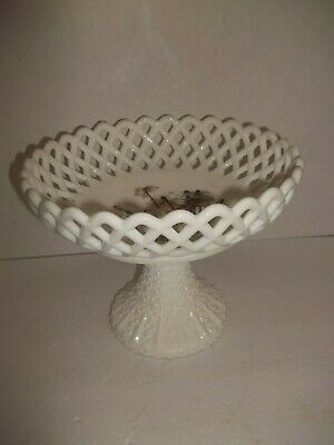 EAPG Antique Milk Glass Challinor Taylor Lattice Edge HP Floral Compote Dish 9""