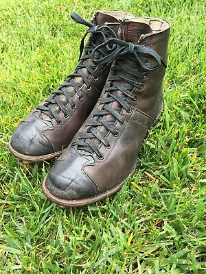 Awesome Old Rare Antique 1930's ALL Brown Leather Adult Football Cleats Boots