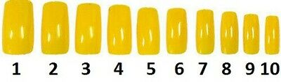 40 Nails Of Size 1-10 Yellow Acrylic False Finger Nail Full Extension Tip Beauty