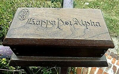 FANTASTIC MISSION ANTIQUE WOODEN DRESSER BOX HAND ENGRAVED KAPPA PSI ALPHA c1900