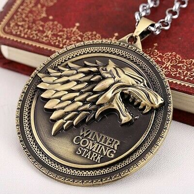 Game of Thrones House Stark Wolf Necklace Winter Is Coming Metal Pendant Jewelry