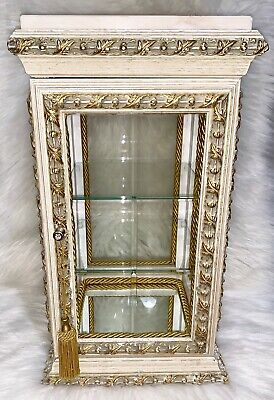 Horchow Italian Florentine Gold Leaf Curio Cabinet Vitrine Display Case  Vintage