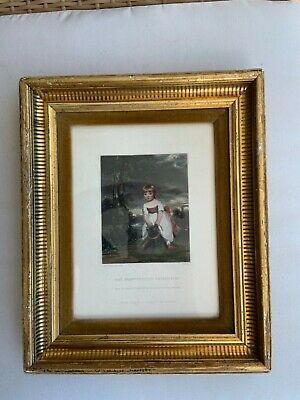 Small thin gilded pine frame wooden antique French painting watercolor miniatur
