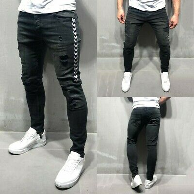 Mens Skinny Slim Fit Pants Ripped Distressed Black Jeans Frayed Joggers Trousers