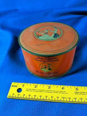 Dome Top Richard Hudnut Three Flowers Dusting Powder Makeup Tin Art Deco VTG