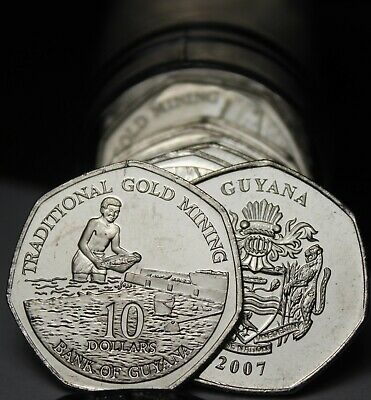 Gem Unc Roll (40) Guyana 2007 $10 Coins`Traditional Gold Mining~Free Shipping