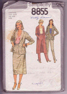 8855 SIMPLICITY c.1978 - JACKET in 2 Lengths SKIRT PANTS - Sz 6/8 B 30.5-31.5""