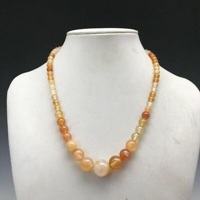 Exquisite Chinese 100% natural handcarved Yellow agate jade necklace