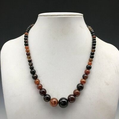 Exquisite Chinese 100% natural handcarved black brown agate jade necklace