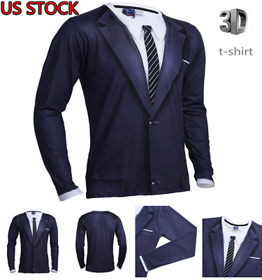 7b53b50eb Men 3D Printed Tie Tuxedo T-Shirt Tops formal wedding groom graduation  Shirts US