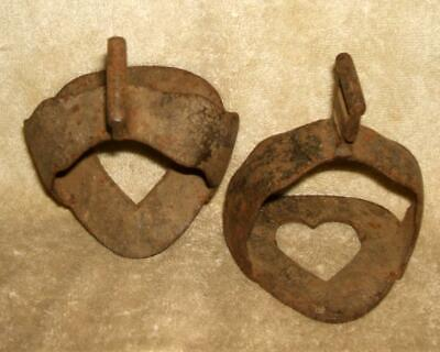 Pair Circa 1880 Hand Wrought Iron Stirrups with Open Heart Decoration