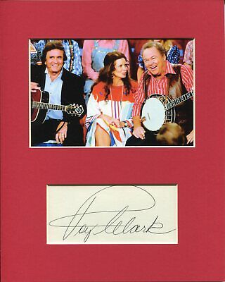 Roy Clark Country Singer Signed Autograph Photo Display With Johnny & June Cash