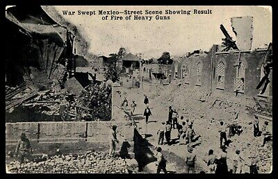MEXICO 1900s  WAR SWEPT STREET SCENE SHOWING RESULT OF FIRE OF HEAVY GUNS ON POS