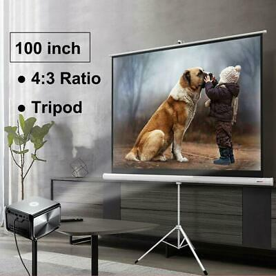 "Portable 100"" 4:3 HD Projection Projector Screen Pull Up with Tripod Stand"