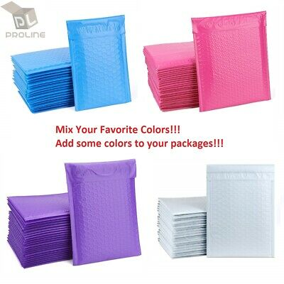"Mix Your Color 50 Poly Bubble Shipping Envelopes Mailers #000 Extra Wide 4"" x 8"""