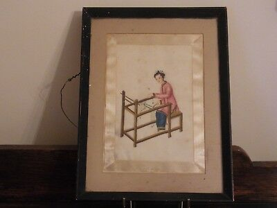 Antique Chinese Painting On Rice Paper Lady At Her Loom Antique Chinese Art