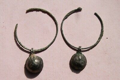 PAIR  of ANCIENT ROMAN/BYZANTINE SILVER EAR RINGS 5/6th CENTURY AD