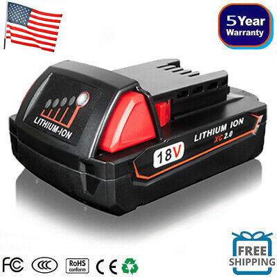 New 48-11-1820 M18 Lithium Battery 2.0 Ah FOR Milwaukee 18V Cordless Power Tools