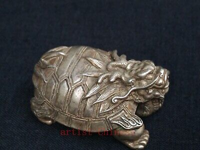 Collection Old China Tibet Silver Sculpture Turtle Statue paperweight Decoration