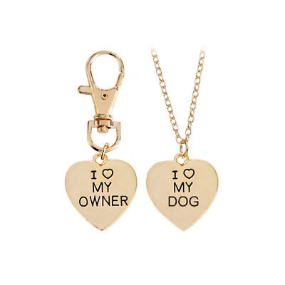 2pcs Simple Lettering I Love My Dog/Owner Pendants Heart Necklace Family Gift FG