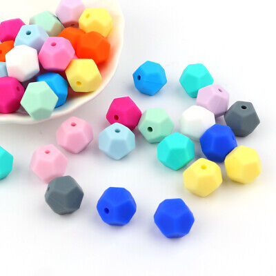 10X DIY Silicone Beads Baby Teething Toy Teether Bead Pacifier Chain Chewable