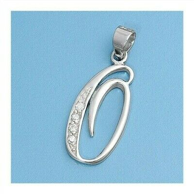 Alphabet Initial Pendant Sterling Silver 925 Cubic Zirconia Jewelry Letter O