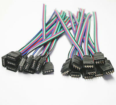 LOTS 10pcs Female10pcs Male 4pin With Wire RGB Connector For 3528 5050 LED Strip