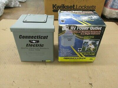 New Connecticut Electric Rain Tight 30 Amp 120 Volt RV Power Outlet Receptacle