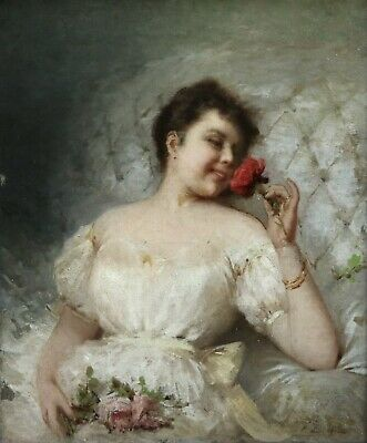 19th CENTURY FRENCH OIL CANVAS - ELEGANT WOMAN WITH ROSE - INDISTINCTLY SIGNED