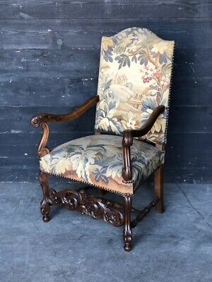 Walnut Tapestry Carolean Armchair, Upholstered Chair, French Circa 1870