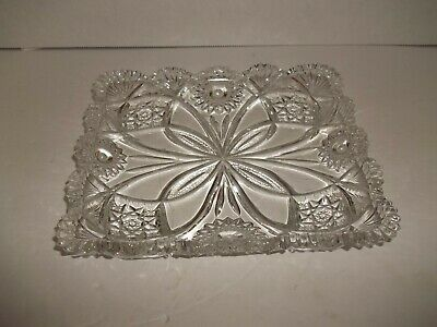 EAPG Antique FAN STAR DAISY EARLY AMERICAN GLASS RECTANGULAR VANITY DISH TRAY