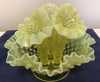 Vintage Fenton Art Glass Yellow Topaz Opalescent Hobnail Epergne