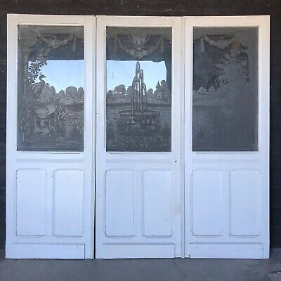 Set 3 French Chateau Etched Glass Doors, Victorian Circa 1860