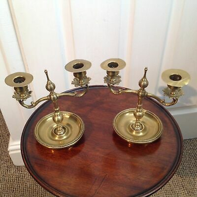 Christopher Dresser Aesthetic Beehive Style Bronze Brass Two Branch Candelabras