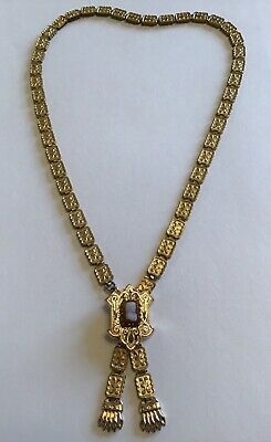 Victorian Gold Filled Bookchain Necklace With Cameo Center  Vb5