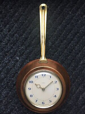Vintage Working English Copper Brass Pan Wall Clock Mechcanical  Smiths Tempora