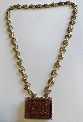 Victorian Gold Filled Bookchain Molded Carnelian Necklace