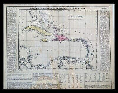 Geographical Statistical Historical Map The West Indies 1822 Lucas Hand-colored