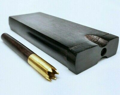 Ebony Brass Grinder Tip Dugout One Hitter Stash Box for Dry Herb