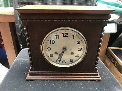 Antique  Mantle Clock in Wooden Inlaid Case Wind Up Working with Key