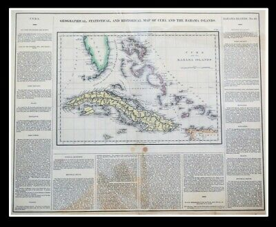 Geographical Statistical Historical Map Cuba Bahama Islands 1822 Hand-Colored